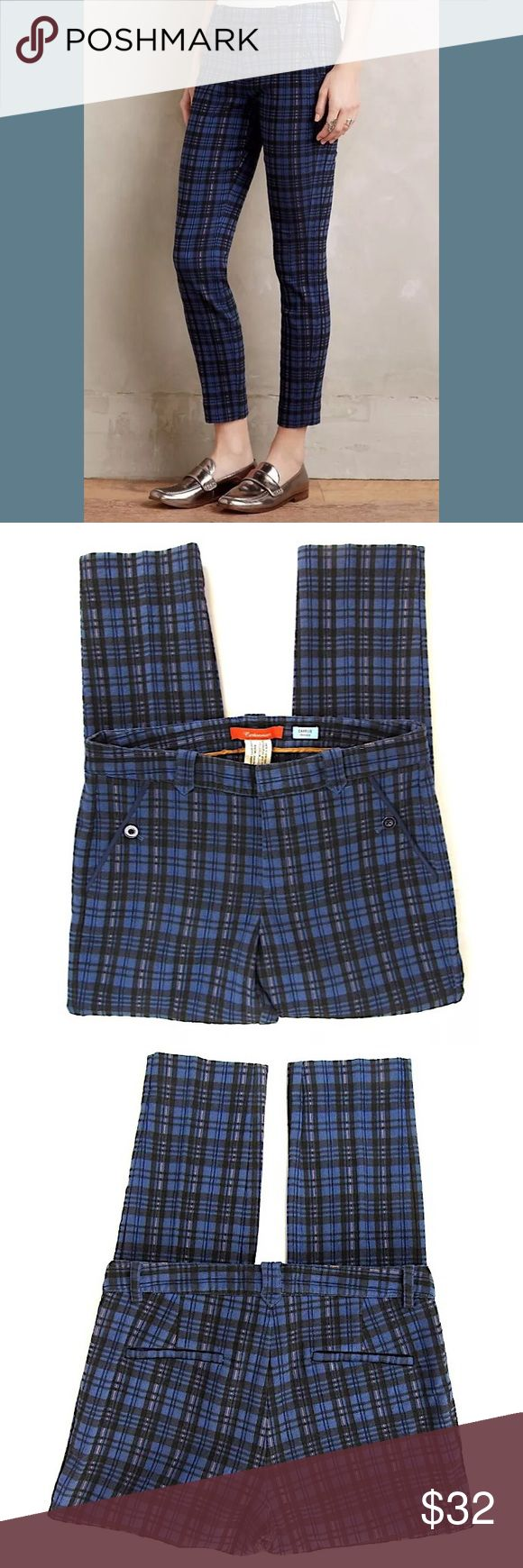 """Cartonnier Charlie Trousers Tartan Plaid Sz 10 Brand: Cartonnier/Anthropolgie Style:  Charlie Trousers, cropped skinny pants, 2 back pockets, 2 front pockets. Size:  10 Color/Pattern:  Blue tartan plaid Material:  66% cotton, 30% polyester, 4% spandex Measurements taken flat/approx:  -Waist:  16.5"""" -Inseam:  27.5"""" -Rise:  10"""" -Leg Opening:  6"""" Garment Care:   Turn inside out before washing.  Machine wash cold.  Condition: No rips, tears or stains. Smoke free. Anthropologie Pants Ankle…"""