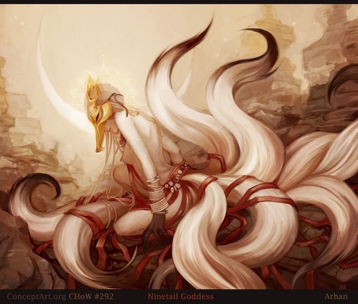 """Ninetails Goddess"" ~ Kyubi no Kitsune / White Nine-Tailed Fox (Japanese Art)"