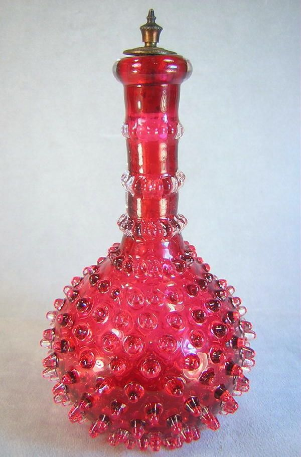 1890 s HAND BLOWN Cranberry Art Glass HOBNAIL Barber Bottle Polished Pontil