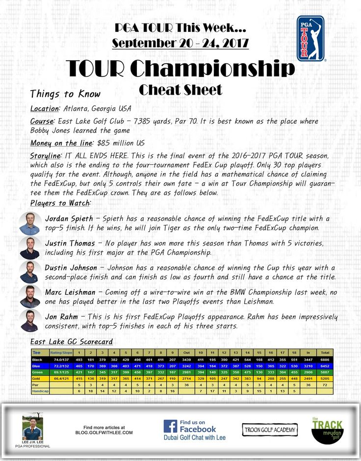 PGA TOUR This Week September 20-24, 2017 TOUR Championship Cheat Sheet by Lee  More at blog.golfwithlee.com