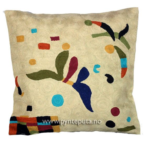 """Pyntepute """"Elementer Beige"""". Putetrekket er brodert i ull og mange lekre farger, blant annet beige bakgrunnsfarge med elementer av sort, brun, okergul, mosegrønn, lys mosegrønn, oransje og turkis. Fra nettbutikken www.pynteputa.no. #pyntepute #pynteputer #sofaputer #kandinsky #farger"""