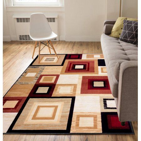 Well Woven Miami Sensation Squares Geometric Red Area Rug Area Rugs Square Area Rugs Affordable Area Rugs