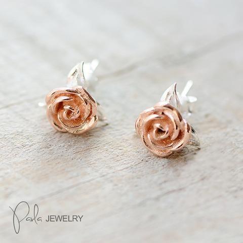 Silver Earrings Floral Rose Stud Earrings Christmas Gift Jewelry Accessories Women