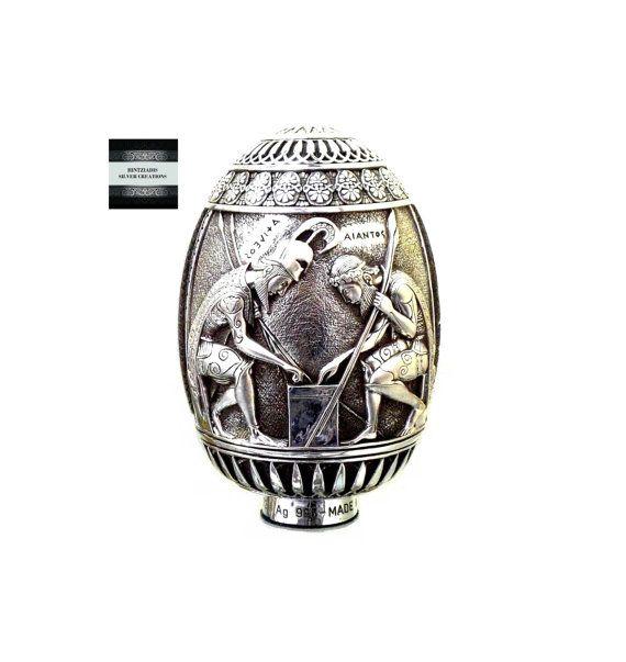 PANKRATION ACHILLES & AJAX. Handmade Silver Egg. Collectible Art Object. Ancient Greek Art. Handmade Souvenirs.