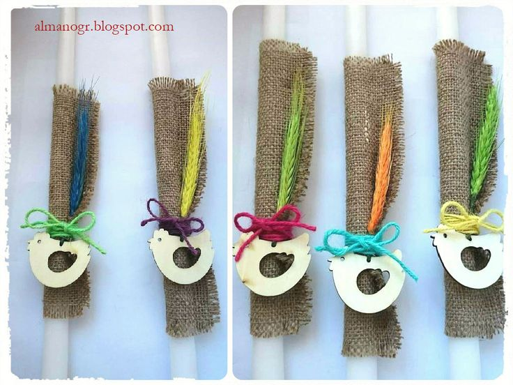 Easter candles with burlap, dried flowers, ribbons and wooden chickens