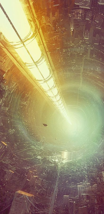 """Amalthea by Hamsterfly. Interesting concept with a contained """"sun"""" running through the center of an O'Neill cylinder type space colony that is urban ugly."""