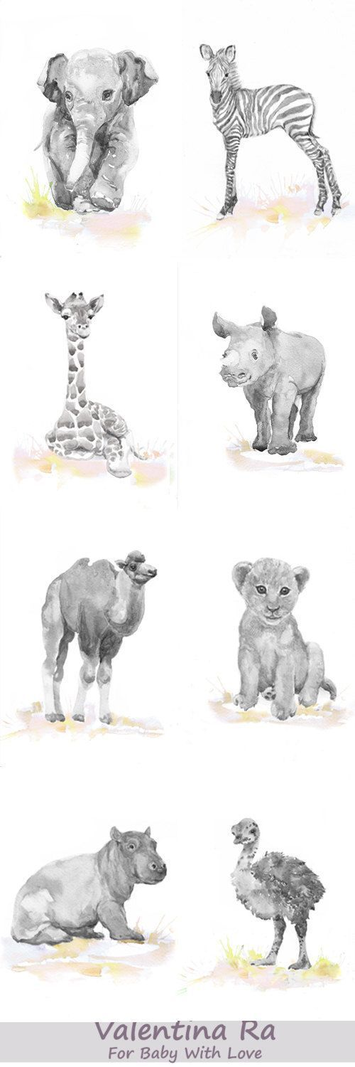 Neutral Nursery Set of 8 Prints Baby Animals Watercolor painting Girl Nursery…