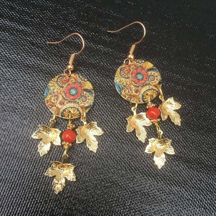 Excited to share the latest addition to my #etsy shop: Round Chandelier Earrings \ Golden Leaf Earrings \ Boho Earrings \ Gypsy Earrings \ Belly dance earrings \ Festive Earrings \ Floral Earring #jewelry