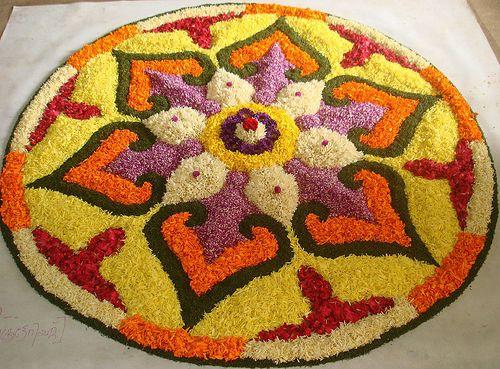 Flower Rangoli made during Deepawali festival in India..