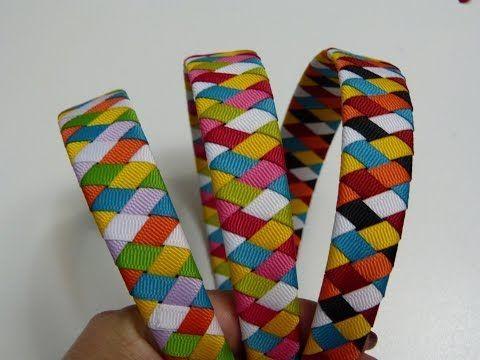 Diy. Diademas forradas con cinta de 6 colores diferentes- Vinchas trenzadas paso a paso - YouTube