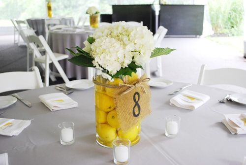 flowers decorations for weddings simple diy wedding centerpieces lemons and hydrangeas 4257