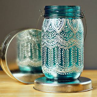 DIY Puffy Paint Mason Jar Lanterns