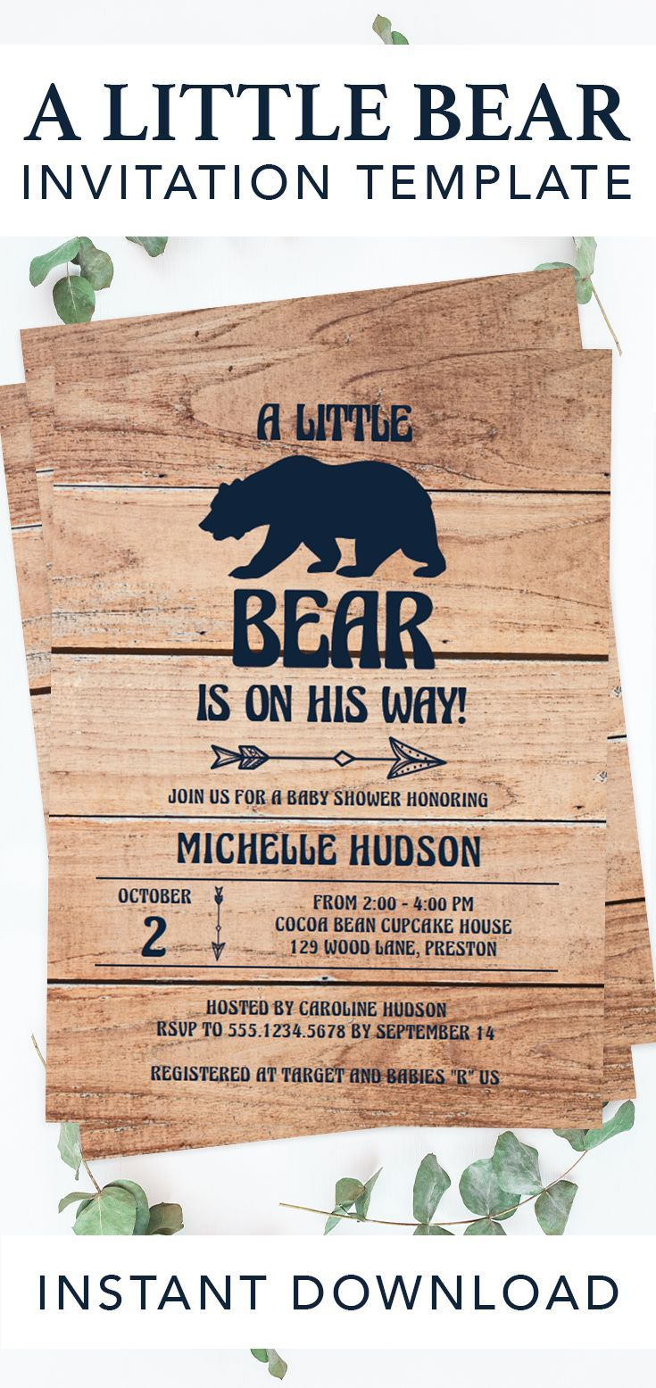 A little bear is on his way! Celebrate the arrival of a baby boy with this adventures bear baby shower invitation. With a rustic wood background and sweet arrows, this baby shower invite is perfect to celebrate the parents-to-be and their new adventure! Click through to create yours or re-pin for later! Printable bear baby shower ideas by LittleSizzle. #babyshowerinvitation #babyshowerinvite #bearbabyshower #printable #template #DIY #babyshowerideas #rustic #woodland #adventure #babybear