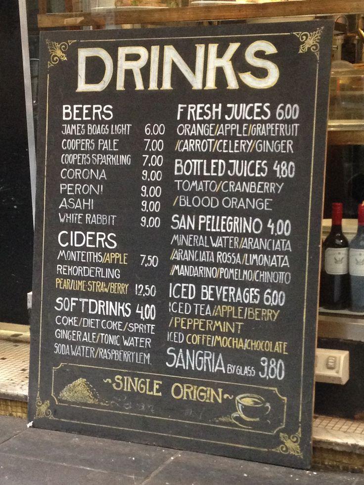 Chalk drinks board at cafe on Degraves St, Melbourne