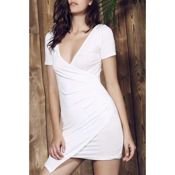 Stylish Plunging Collar Short Sleeve Solid Color Bodycon Women's Dress #men, #hats, #watches, #belts, #fashion, #style