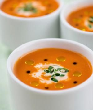 Red Pepper Bisque      1 c. yellow onions  2 tbsp. garlic, chopped  24 oz. vegetable stock  3 c. red bell peppers  1/4 c. basil, chopped  2 tbsp. fresh thyme  1 tsp. sea salt  1/2 tsp. black pepper    Directions:  In a pot, saute sliced onions and chopped garlic until soft. Add vegetable stock and roasted bell peppers. Bring to a boil, then reduce to a simmer. Season soup with salt and pepper. Fill a blender half full, and blend until smooth. Repeat blending until all soup is blended.