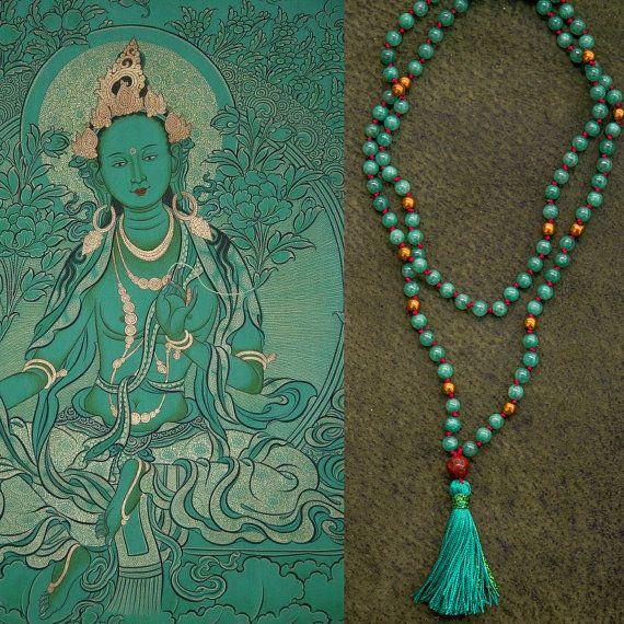 GREEN TARA MALA long jade necklace // Bodhi seed / Silk tassel / hematite / jade in teal / Yoga Necklace / Yoga Mala