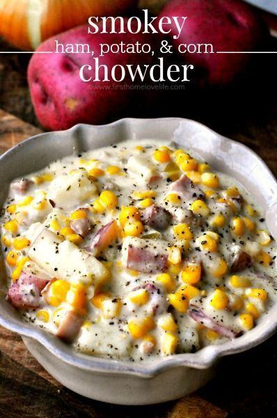 Smokey Ham, Potato, and Corn Chowder. more here http://artonsun.blogspot.com/2015/04/smokey-ham-potato-and-corn-chowder-more.html