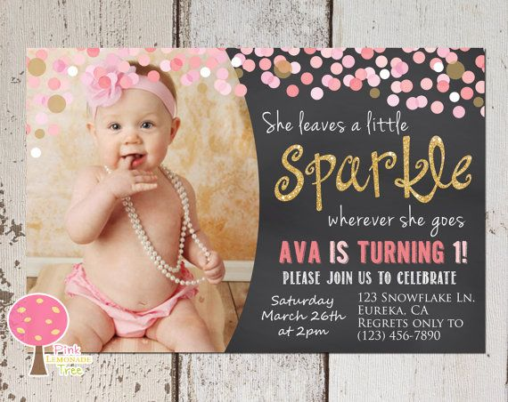 Pink and Gold First Birthday Party Invitation, She Leaves a Little Sparkle, Gold Glitter, One, First Birthday, Confetti, Coral Pink, Mint