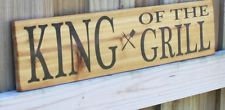 """KING OF THE GRILL sign 24"""" rustic for the patio grill bbq or steamer smoker cave"""