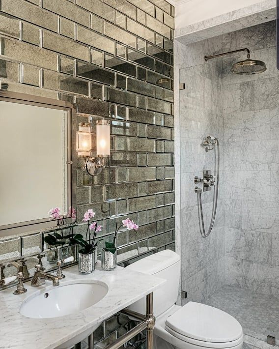 Paris Gray Beveled 4x12 Antique Mirror Tile In 2020 Mirror Tiles Bathroom Tile Accent Wall Bathroom Antique Mirror Tiles