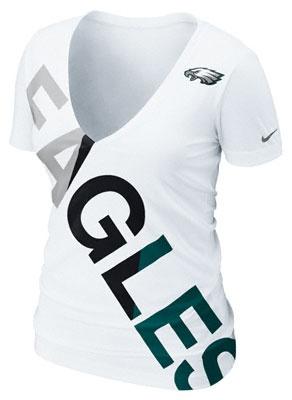 #Eagles #Nike White Off-Kilter Tri-Blend Deep V-Neck T-Shirt. $31.99