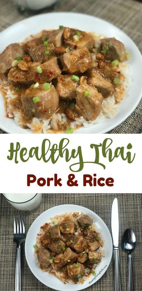 healthy thai pork and rice make an easy crock pot dinner recipe idea