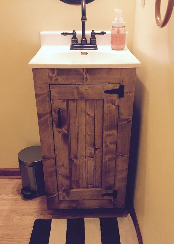 Custom, New, Handmade Bathroom Vanity - 18W x 16D x 32H This country bathroom vanity is the perfect addition to a small half-bath or an area