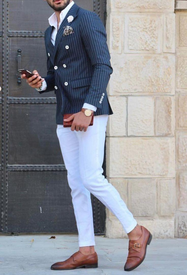 White pants blue top