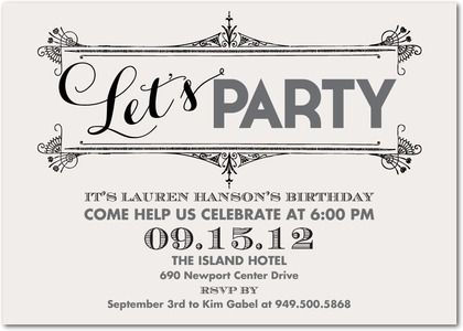 Adult Birthday Party Invitations Swirling Shindig - Front : Light Gray