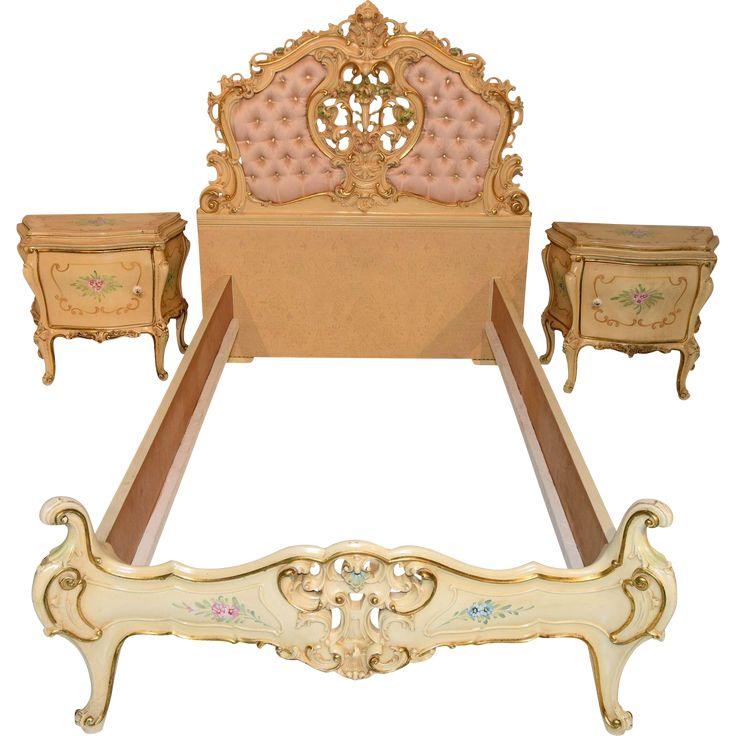 Vintage Italian Bedroom Painted Bed Two Night Stands Baroque Design Floral Patterns www.rubylane.com #vintagebeginshere