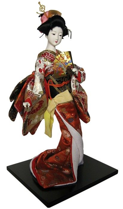 Japanese traditional doll Lady dancing with fan, 1960's. Japanese Dolls Collection. The Japonic Online Kimono and Japanese Fine Art and Antiques Store