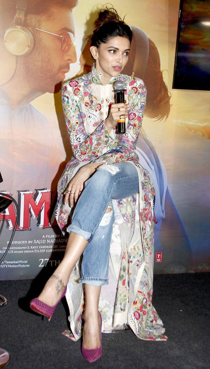 Deepika Padukone interacting with the media while celebrating the success of #Tamasha's music.