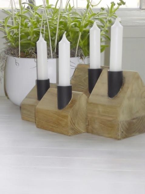 Candles Houses made of teak. Unika,  handmade, Chimney - 4 sizes