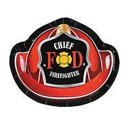FIREFIGHTER PARTY ~ Fireman Helmet Shape Dessert / Cake Plates - pack of 8