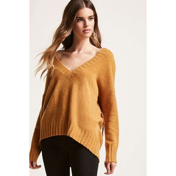 Forever21 Lace-Up V-Neck Sweater (280 GTQ) ❤ liked on Polyvore featuring tops, sweaters, mustard, v neck sweater, beige sweater, laced up top, lace up back top and lace up long sleeve top