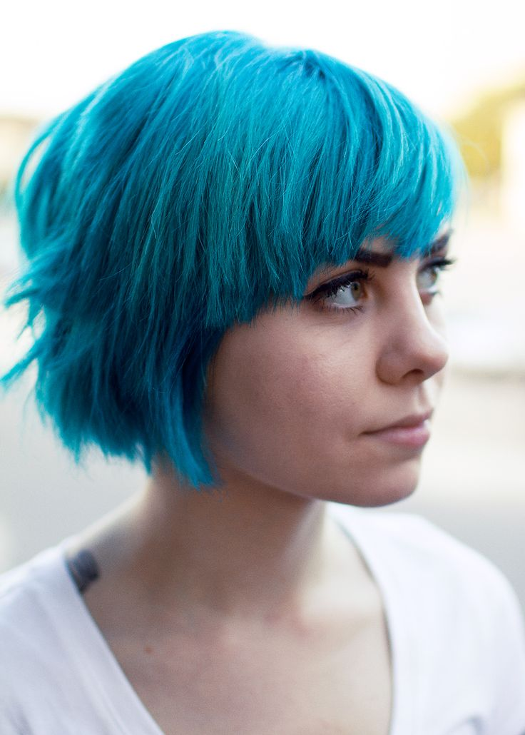 pretty blue hair dyed