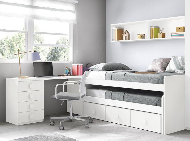 Dormitorio juvenil con 2 camas y zona de estudio.  Más muebles en www.hiper-mueble.com