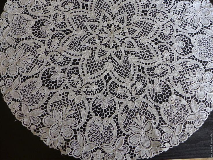 Купить Нежная кружевная салфетка «Фантастика» - Плауэнское кружево, диаметр - белый, салфетка, кружевная салфетка