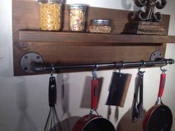 Hey, I found this really awesome Etsy listing at https://www.etsy.com/listing/219050270/rustic-modern-industrial-pot-rack-wood