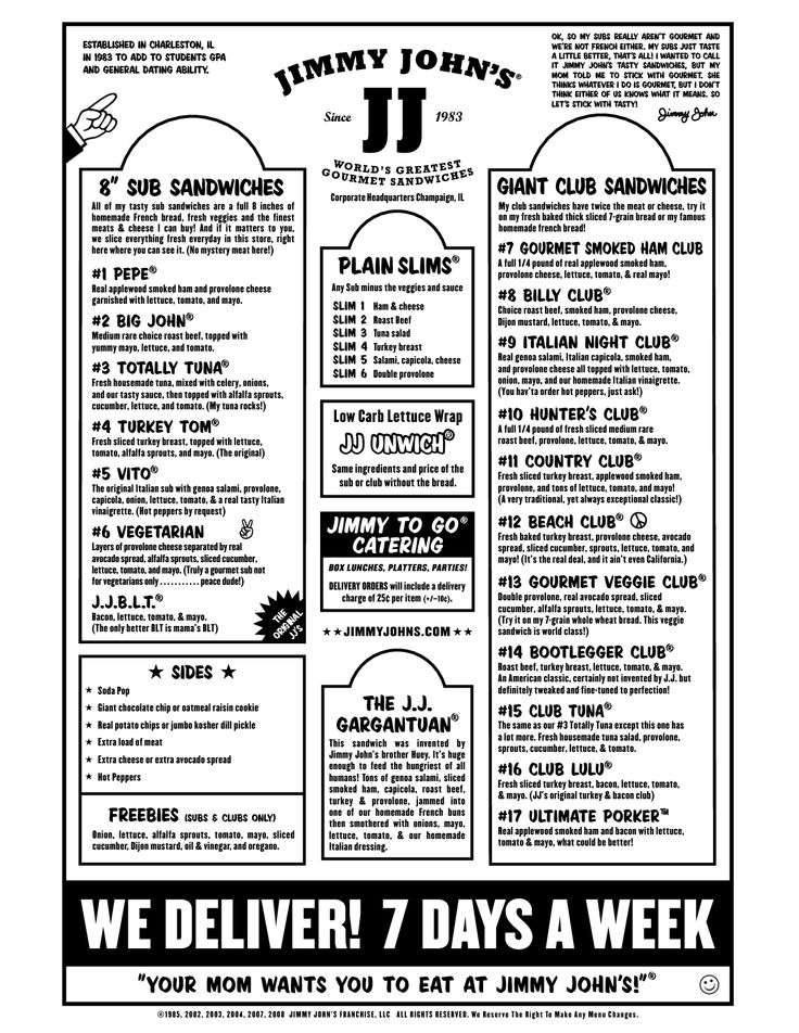 Box Lunch Menu Template | Jimmy John's Menu