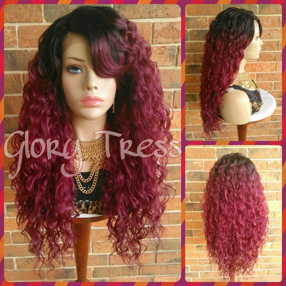 ON SALE // Long Wavy Lace Front Wig Ombre Burgundy by GloryTress