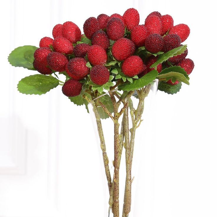Luyue Artificial Silk Fruit Decorative Paddle Strawberry For Home Decor Photo Props ,Pack of 5 (Red small) * You can find more details by visiting the image link.