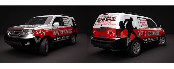 Vehicle Wrap for Help Me Hotline a Lawyer Referral Service by My Idea Studio