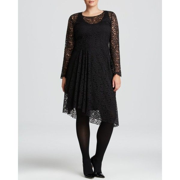 Marina Rinaldi Plus Decibel Lace Dress (€745) ❤ liked on Polyvore featuring plus size women's fashion, plus size clothing, plus size dresses, black, plus size, pleated dress, womens plus size cocktail dresses, lace cocktail dress, plus size going out dresses and cocktail party dress
