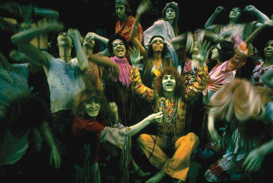 """HAIR, 1968  A generation before Spring Awakening, composer Galt McDermot and lyricist-librettists Gerome Ragni and James Rado didn't just prove that rock music could work on Broadway—they created a soundtrack (and name) for the Age of Aquarius. Just as important, this story of a """"tribe"""" of Greenwich Village hippies inaugurated Joe Papp's Public Theater—which, for all its ups and downs, has been the heart of the New York stage world ever since."""