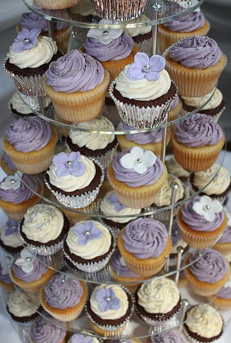 Lilac, White & Silver Cupcakes by ConsumedbyCake, via Flickr