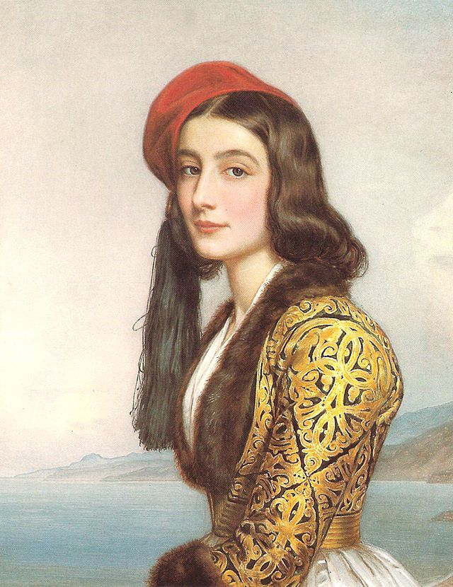 """Katerina """"Rosa"""" Botsari (Greek: Κατερίνα Μπότσαρη; 1820–1872) was a member of the Souliot Botsaris family. The daughter of Markos Botsaris, she was in the service of Queen Amalia of Greece as well as an admired young woman throughout the European courts - she was immortalised for the 'Gallery of Beauties' of Ludwig I of Bavaria in an 1841 painting by Joseph Stieler (a painting often mistaken for Amalia herself and wearing a dress now known as the """"Amalia dress""""). A Damask rose species bred…"""