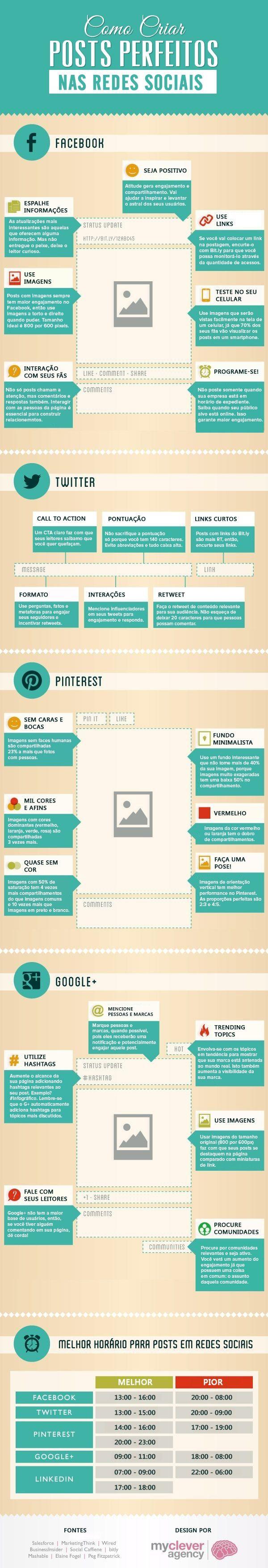 Como criar posts perfeitos nas redes sociais. #infografico