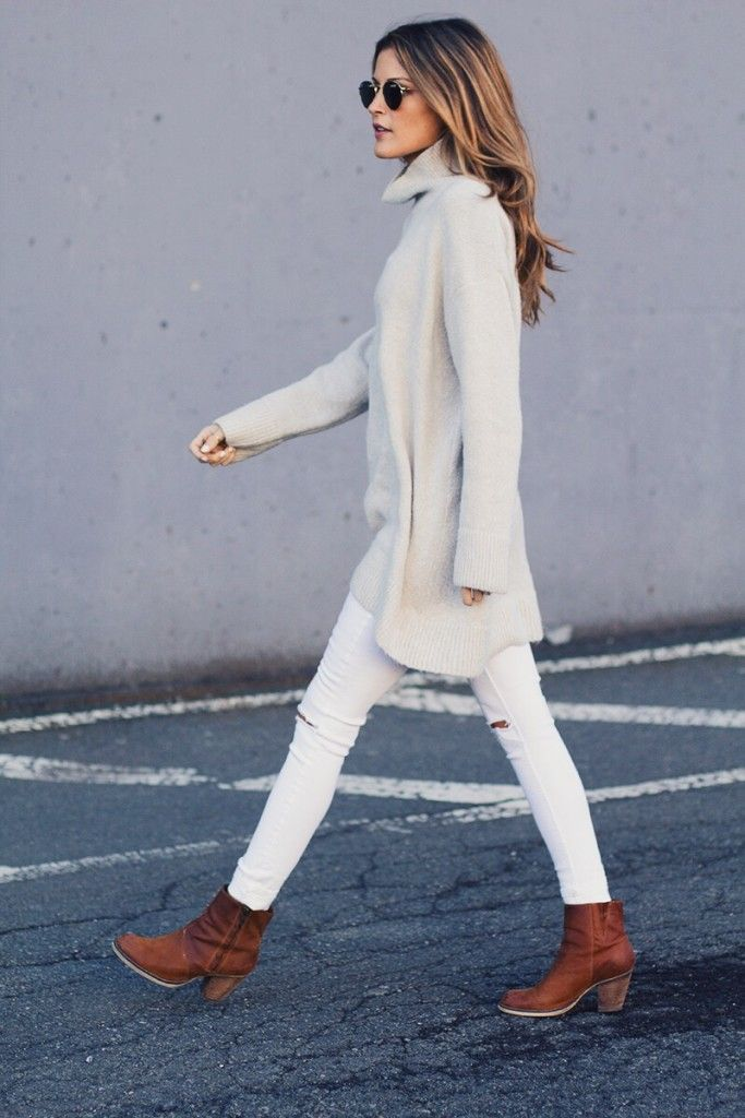 white ripped jeans, zara turtleneck, tan boots / street style
